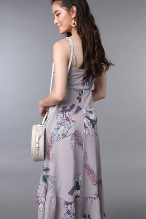 Viola Floral Fishtail Dress in Mauve