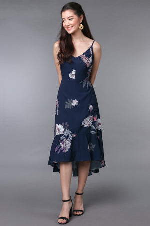 Viola Floral Fishtail Dress in Navy