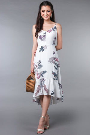 Viola Floral Fishtail Dress in White