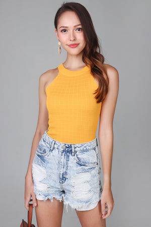 Waffle Cut-In Top in Yellow