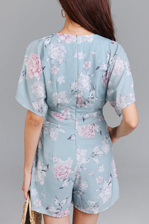 Iris Floral Watercolor Romper in Jade