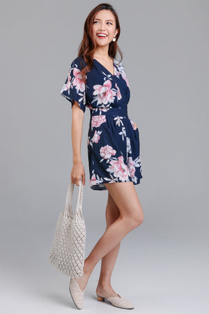 Iris Floral Watercolor Romper in Navy