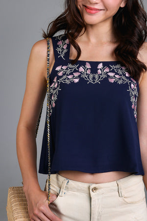 Restocked* Wild Flowers Embroidery Top in Navy