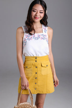 Restocked* Wild Flowers Embroidery Top in White