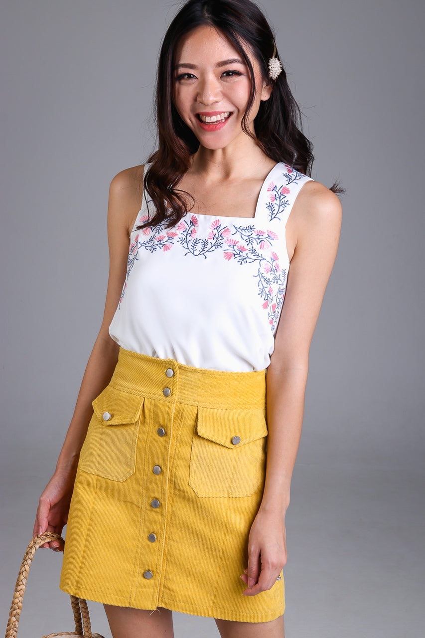 Wild Flowers Embroidery Top in White