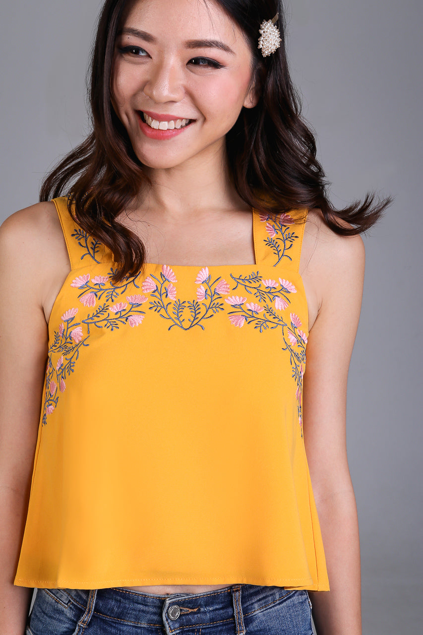 Restocked* Wild Flowers Embroidery Top in Yellow