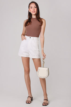Restocked* Zoey Cuffed Shorts in White