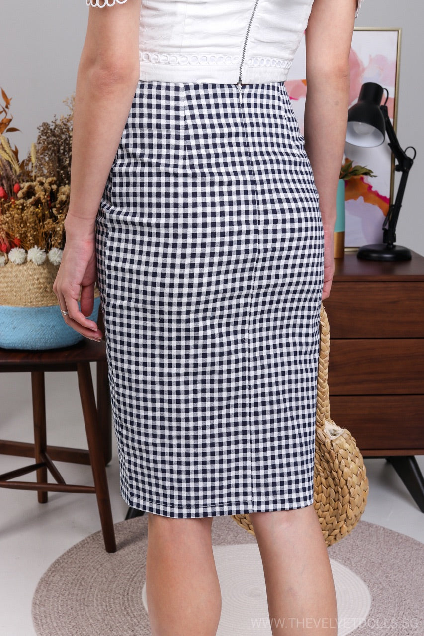 Center Stage Pencil Skirt in Navy Gingham