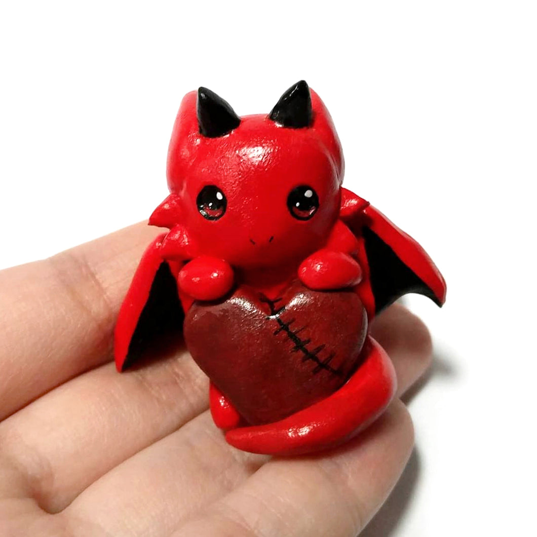 Red Dragon Stitched-Heart Charm