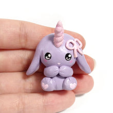 Load image into Gallery viewer, Lilac Unicorn Bunny Charm