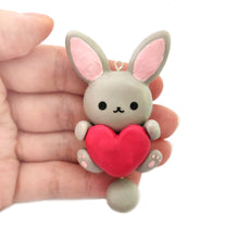 Load image into Gallery viewer, Grey Bunny Heart Charm