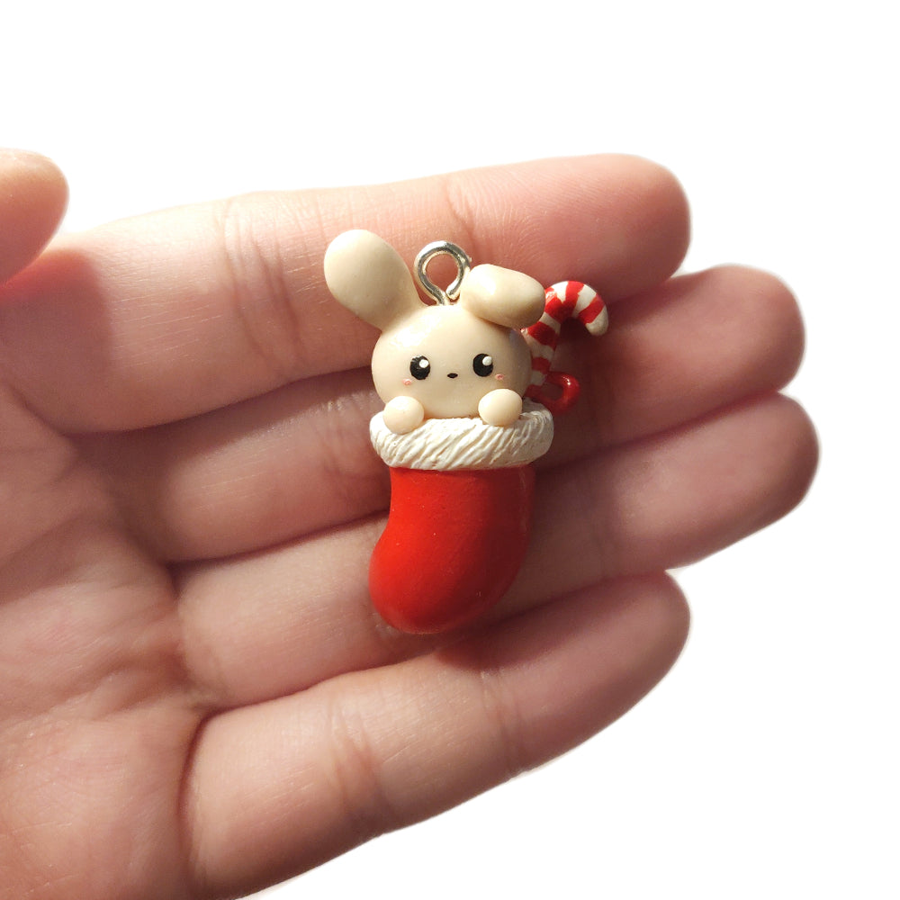 Bunny Christmas Stocking Charm