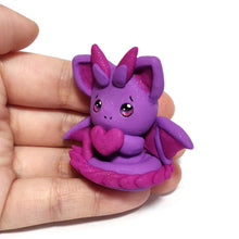 Load image into Gallery viewer, Purple Sparkly Dragon Charm