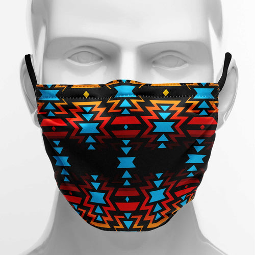 Black Fire and Turquoise Face Cover Herman