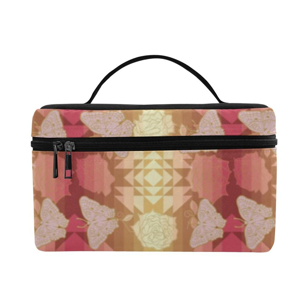 Butterfly and Roses on Geometric Cosmetic Bag/Large (Model 1658) Cosmetic Bag e-joyer