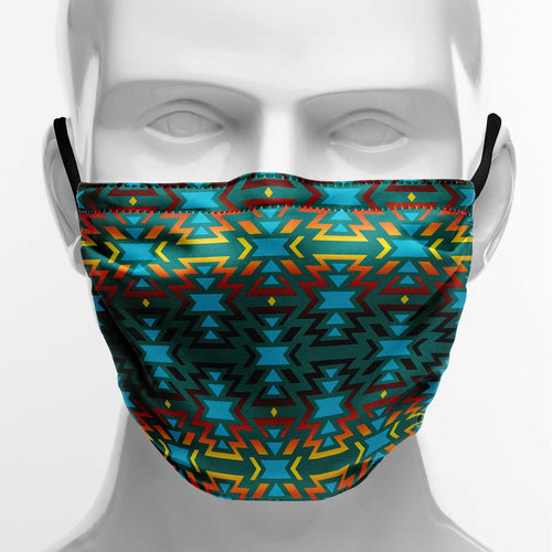 Fire Colors and Turquoise Teal Face Cover Herman