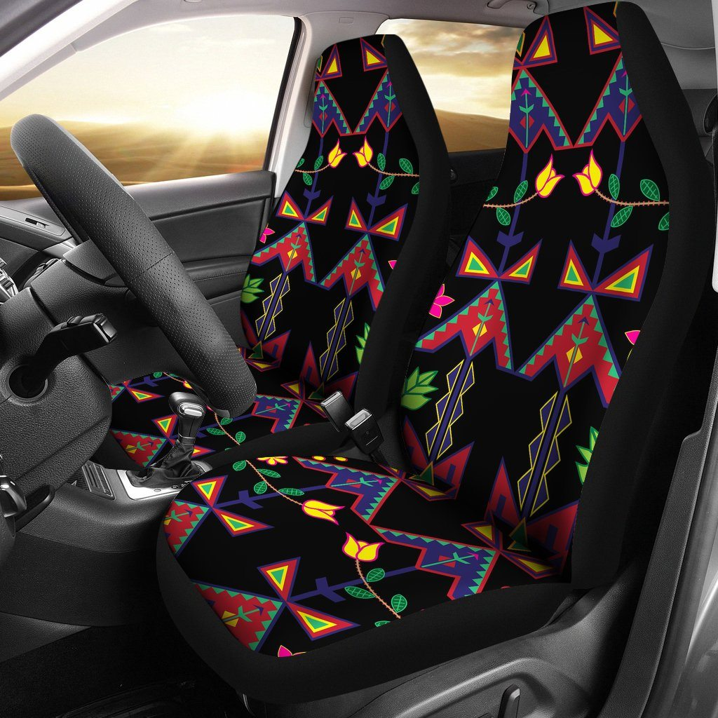 Geometric Floral Spring Black Car Seat Covers (Set of 2)