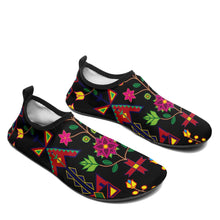 Load image into Gallery viewer, Geometric Floral Spring Black Sockamoccs Slip On Shoes