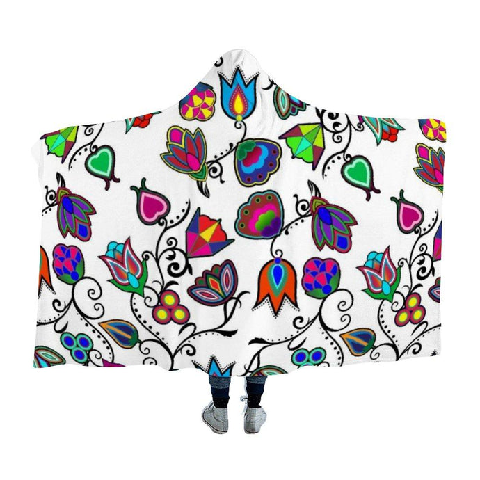 Indigenous Paisley White Hooded Blanket 49 Dzine