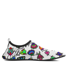 Load image into Gallery viewer, Indigenous Paisley White Sockamoccs Kid's Slip On Shoes 49 Dzine