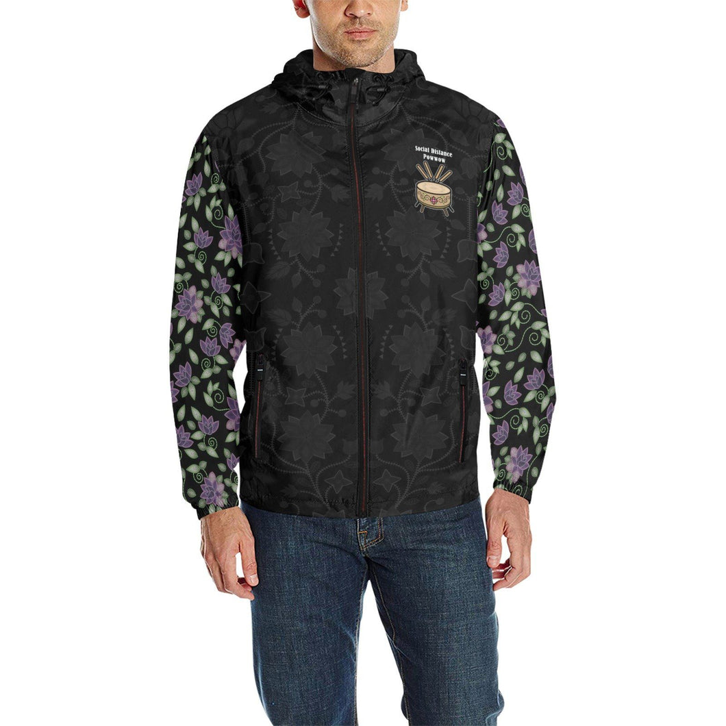 SDP - Floral Purple Beaded Rose Quilted Windbreaker All Over Print Quilted Windbreaker for Men (H35) e-joyer