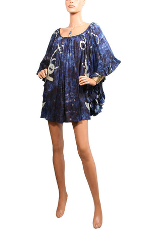 Cape Cod Ruffle Dress Cotton/Silk - Storm Blue