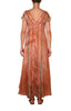 Block Printed Tie Dye Cap Sleeve Dress - Copper