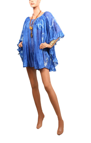 Cape Cod Ruffle Dress - Strong Blue