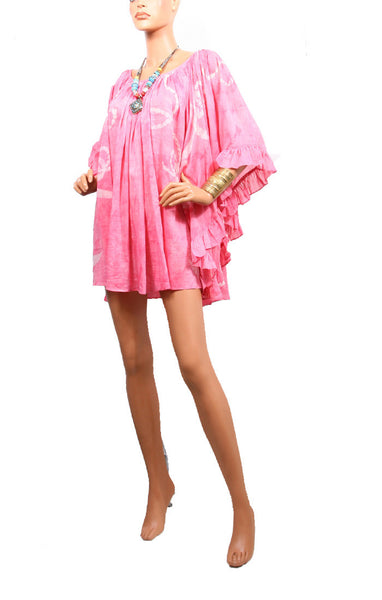 Cape Cod Ruffle Dress Cotton/Silk - Pink