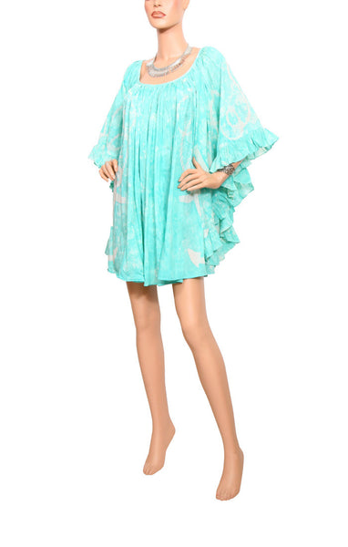 Cape Cod Ruffle Dress Cotton/Silk - Aqua