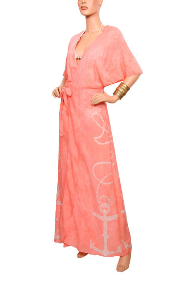Cape Cod Wrap Robe - Peach