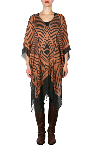 Geo Africana Wool Regular Poncho - Brown/Black