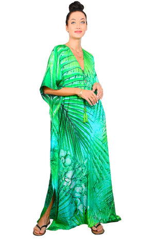 Tropical Palm - Lace Up Kaftan
