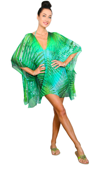 Tropical Palm - Open Side Poncho WITH ties
