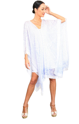 Kharum Regular Poncho - White/Blue