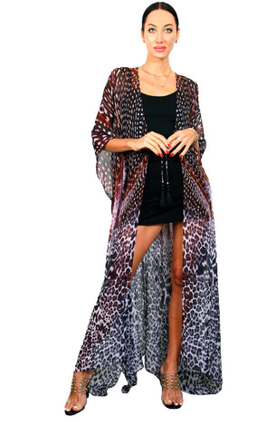 Black Feather - Side Drape Maxi Kaftan