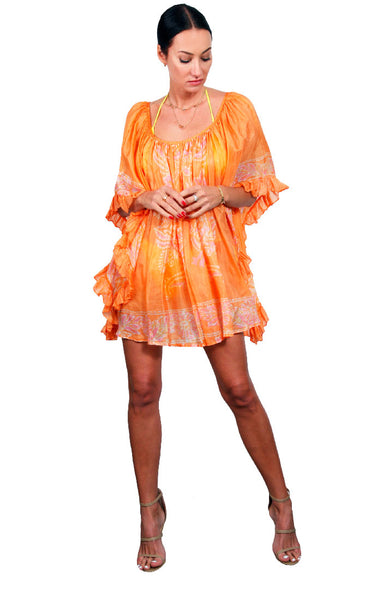Peacock Ruffle Dress - Orange