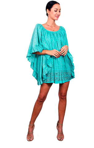 Kharum Ruffle Dress - Aqua/Copper