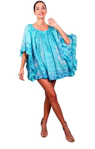 Batik Ruffle Dress Cotton/Silk - Seafoam