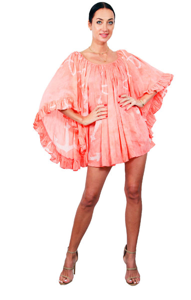 Cape Cod Ruffle Dress - Peach