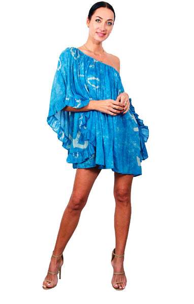 Cape Cod Ruffle Dress - Washed Blue