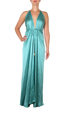 Kharum Long Spaghetti Dress - Aqua/Copper