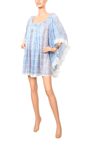 Midsummer Ruffle Dress - White/Blue