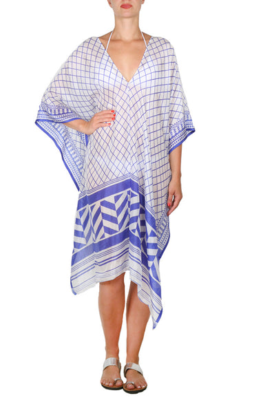 Mykonos Regular Poncho - Blue/white