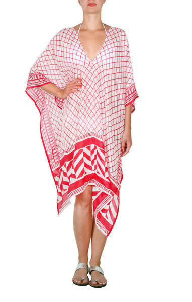 Mykonos Regular Poncho - red/white