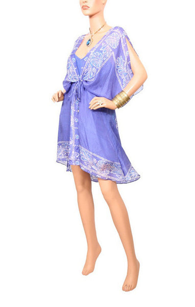 Peacock Batik Mini Cascade Robe - Deep Blue