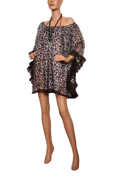 Sand Fossil Ruffle Dress - Coffee