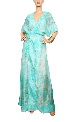 Cape Cod Wrap Robe - Aqua