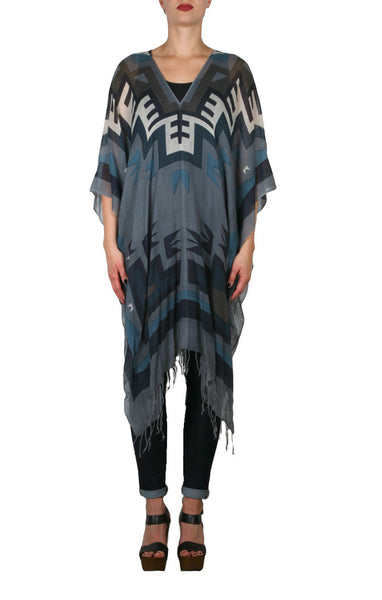 Tahoe Wool Regular Poncho - Blue Boot