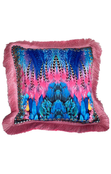 Pink & Blue Feather Play - Pillow
